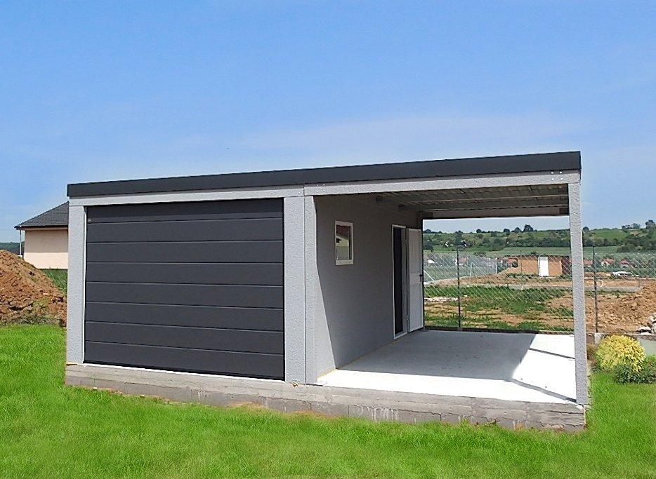 Moderná garáž pre jedno auto s prístreškom