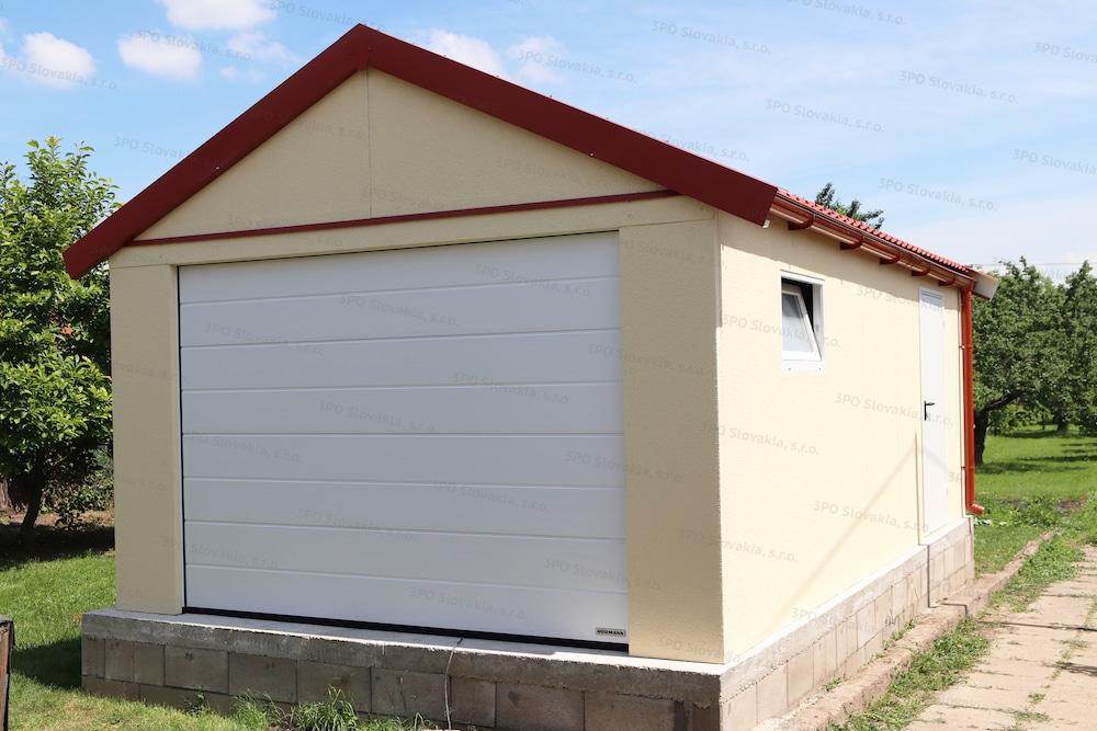 Garáž pre jedno auto so sedlovou strechou v červenej farbe