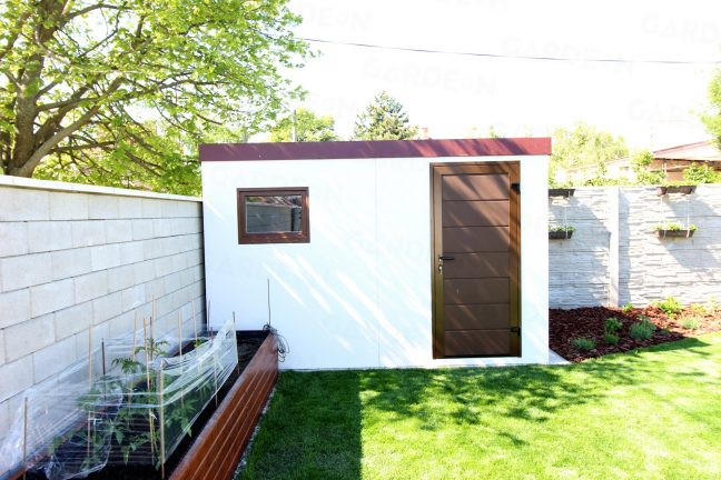Záhradný domček GARDEON v bielej omietke