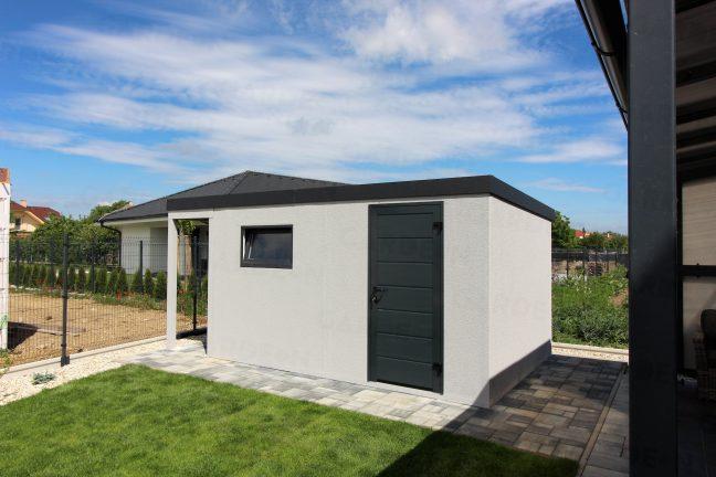 Montovaný záhradný domček s sivej omietke