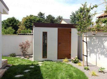 Záhradný domček s dverami a svetlíkom vo farbe zlatý dub