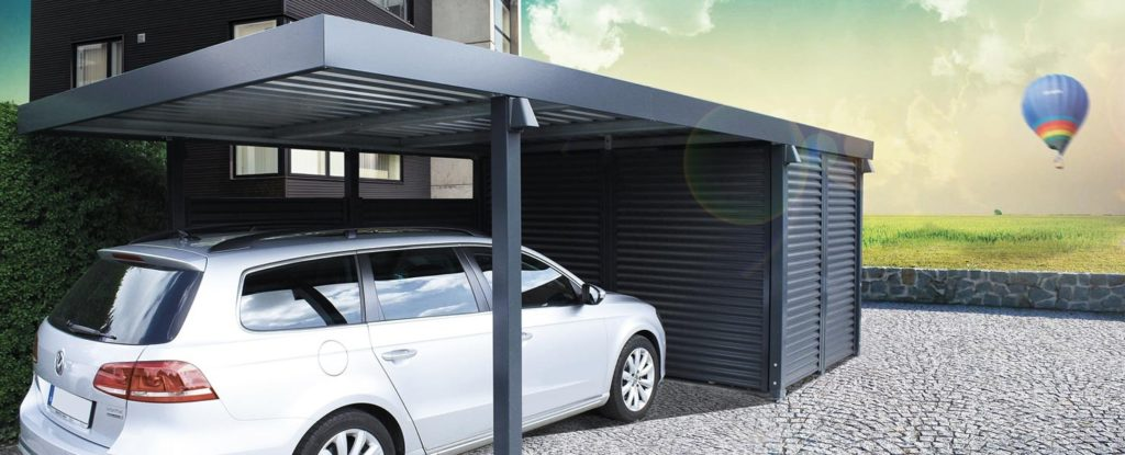 moderný prístrešok pre auto so zadným úložným priestorom