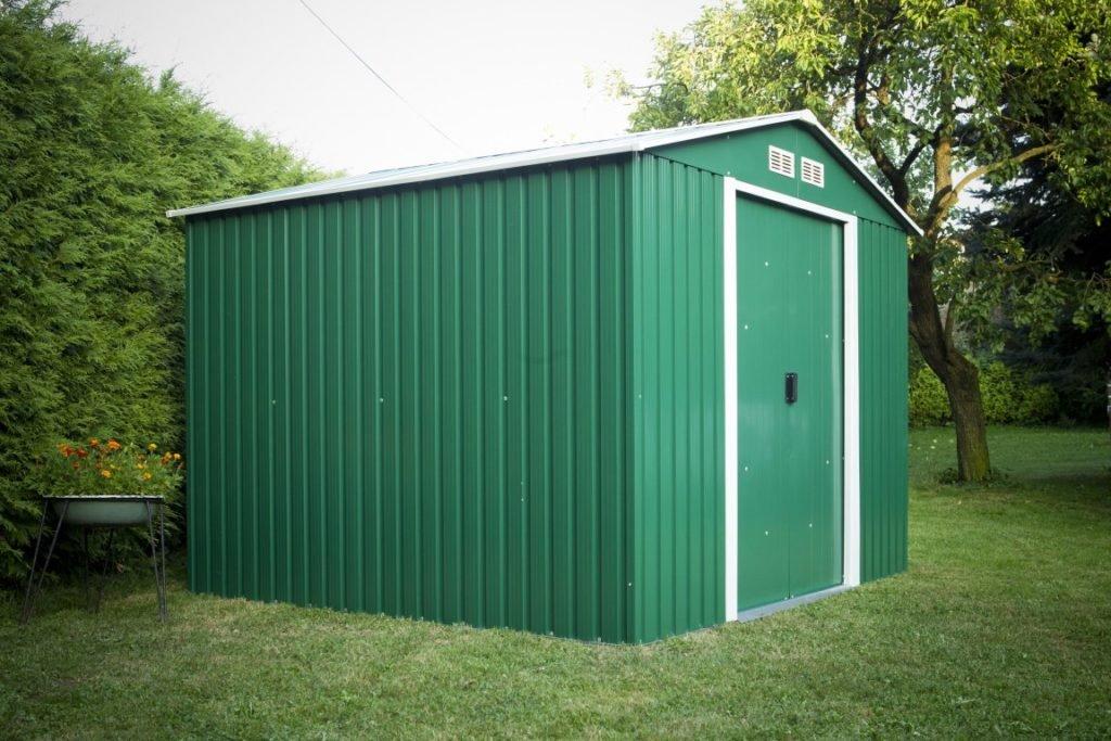 Plechový záhradný domček v zelenej farbe
