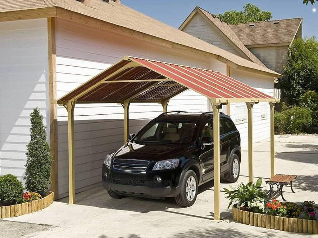 Lacný prístrešok pre auto s červenou strechou