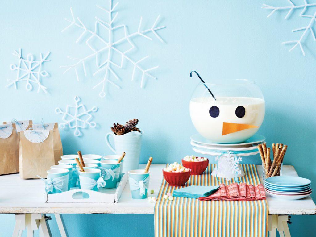 Zimné dekorácie na stole