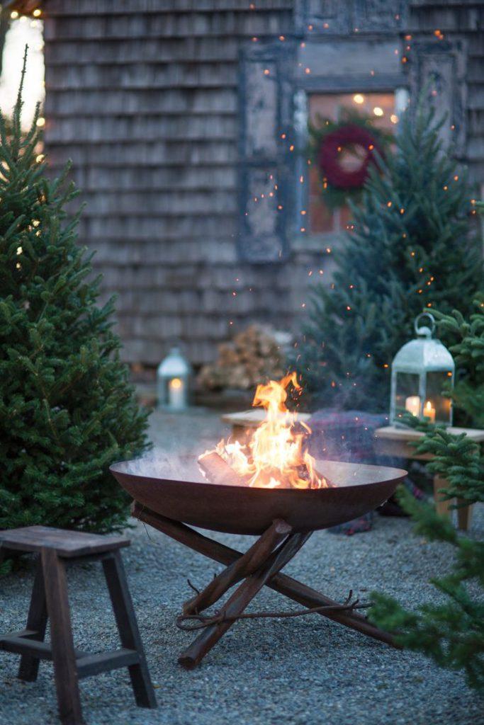 Medené ohnisko na záhrade