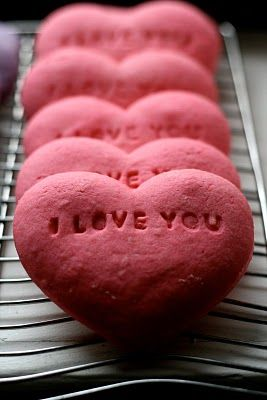 Valentínske koláčiky I Love You v tvare srdiečok