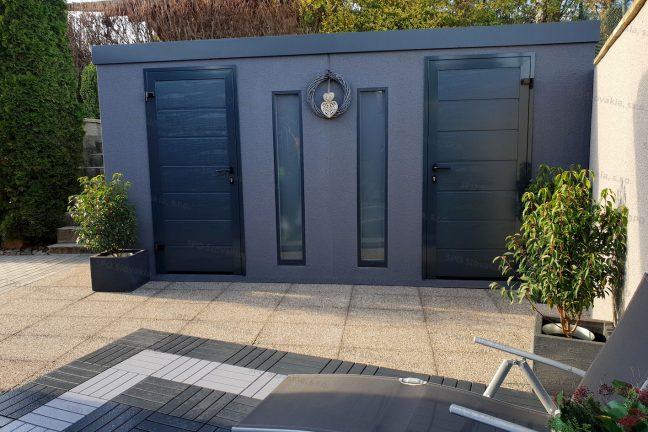 Montovaný záhradný dvojdomček s dverami Hormann LPU40