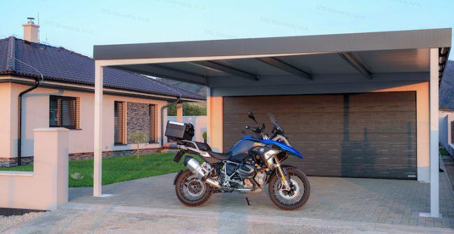 Montovaná garáž GARDEON s prístreškom na prednej strane