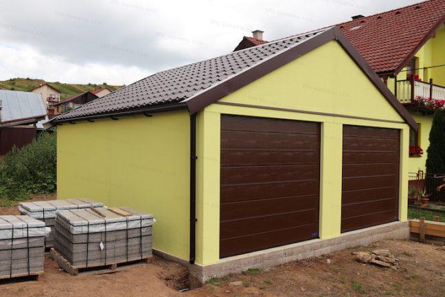 Garáž GARDEON so sedlovou strechou v hnedej farbe