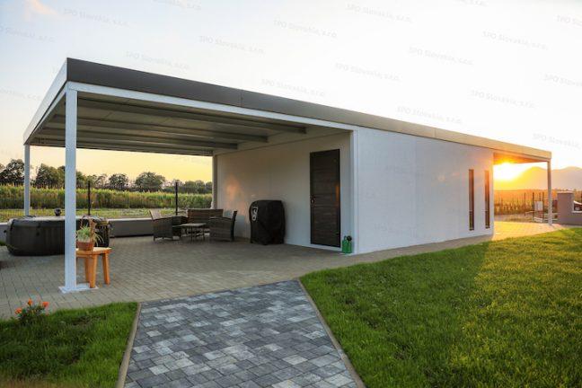 Montovaná garáž GARDEON s prístreškom na prednej a zadnej strane