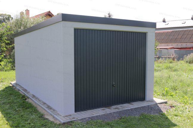 Montovaná garáž GARDEON pre jedno auto v svetlo-sivej omietke