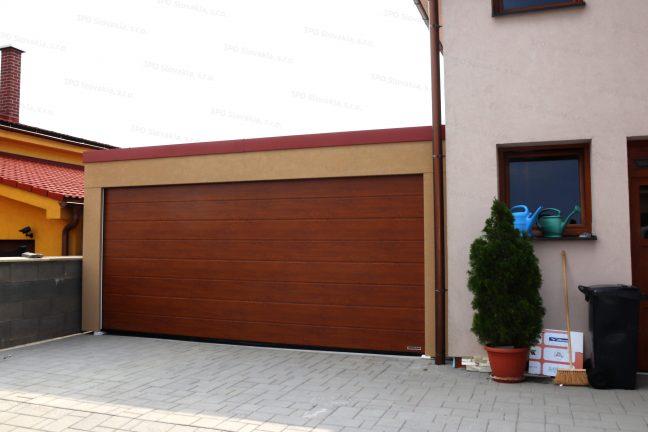Garáž GARDEON v béžovej omietke so strechou v tehlovej farbe