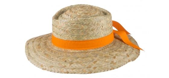 Slamený klobúk s oranžovou stuhou