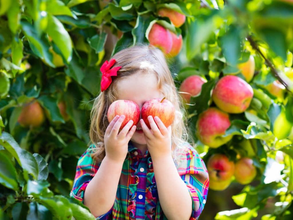 Dievča s dvoma jablkami pri očiach