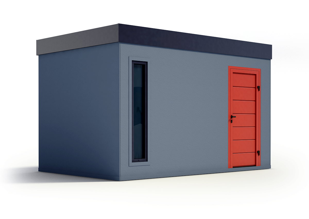 Záhradný domček s červenými dverami