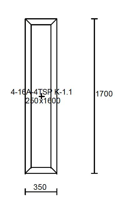 Konštrukčné rozmery svetlíka 350x1700