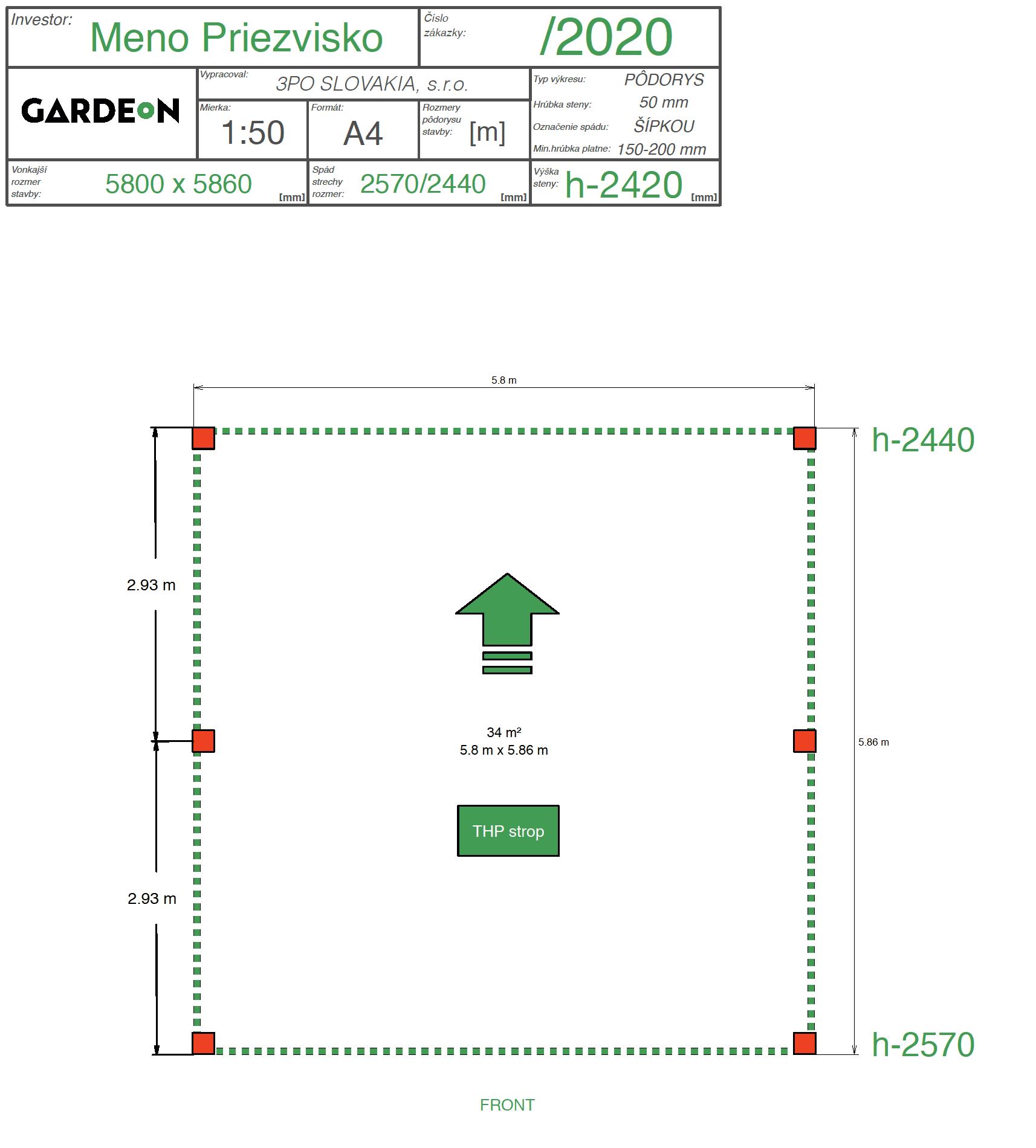 Nákres prístrešku pre dve autá