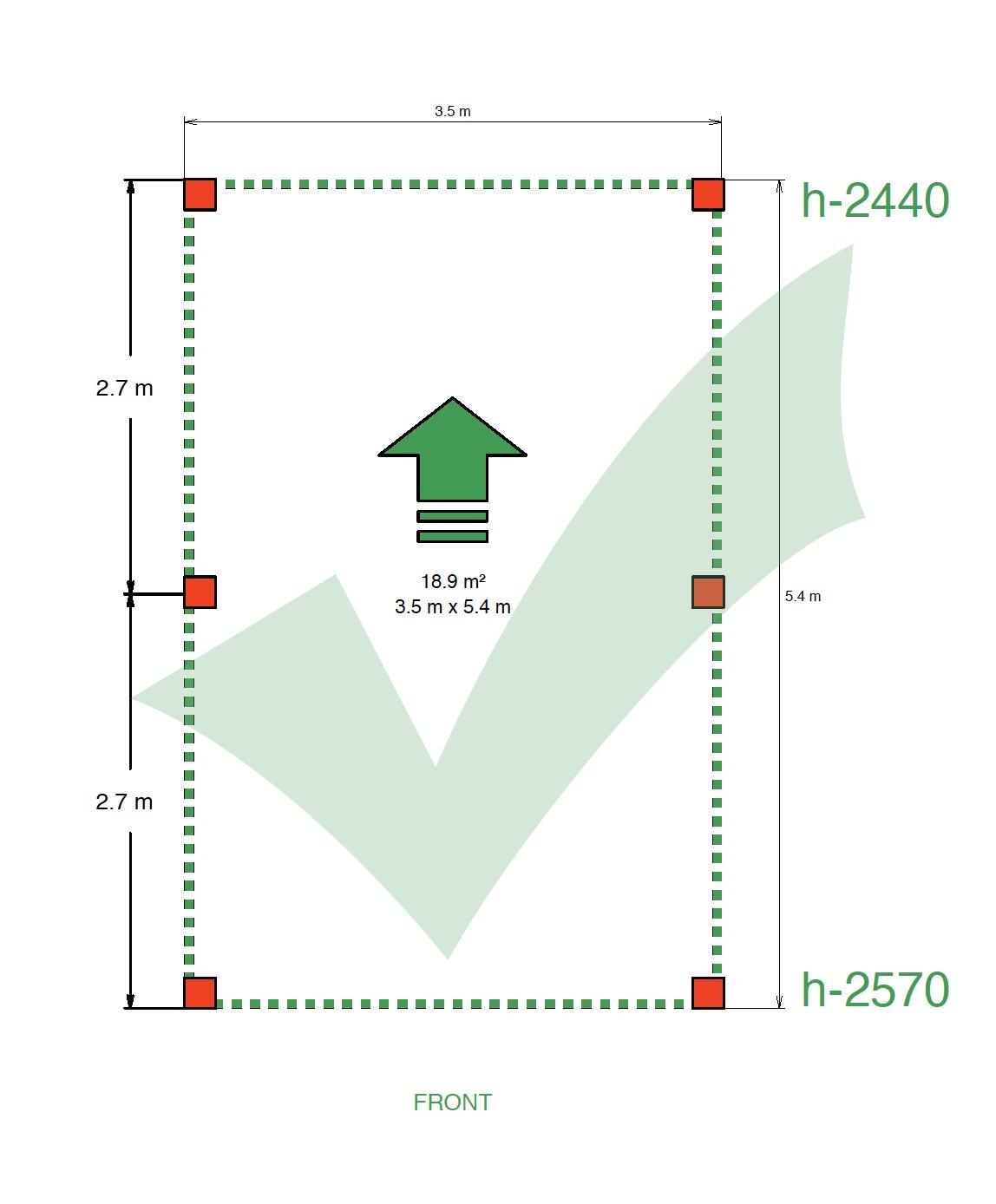 Nákres montovaného prístrešku