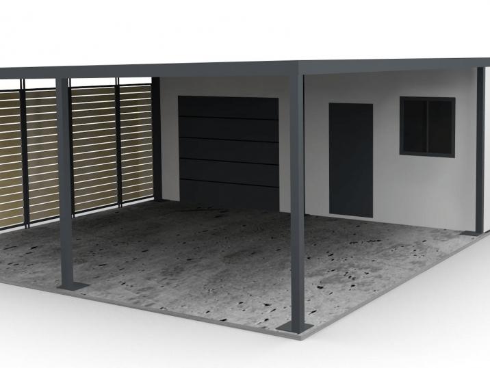 Záhradný domček s prístreškom a garážovou bránou