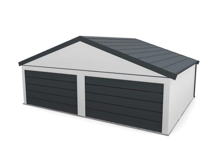 Garáž so sedlovou strechou s dvoma bránami
