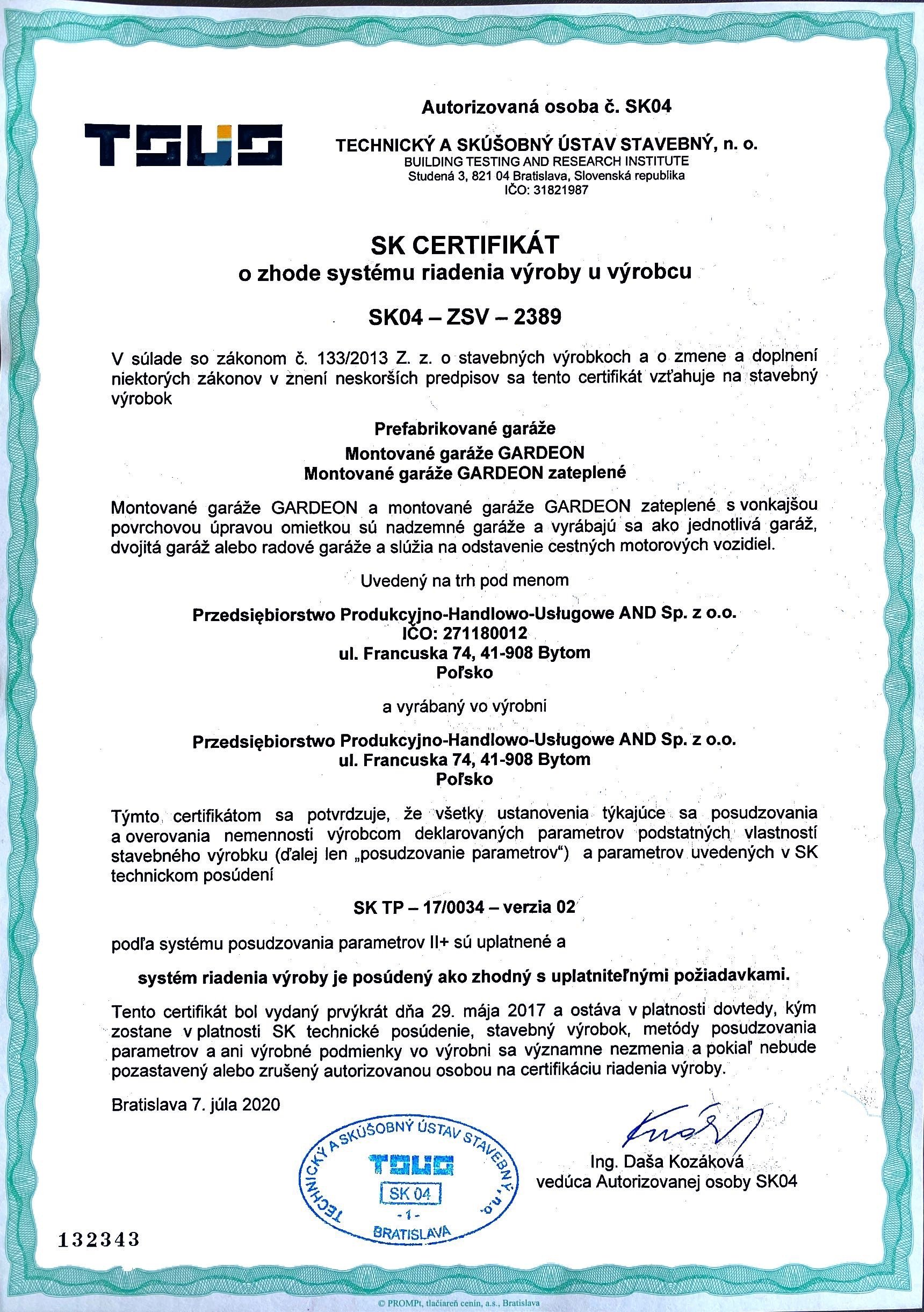 GARDEON Certifikát o zhode