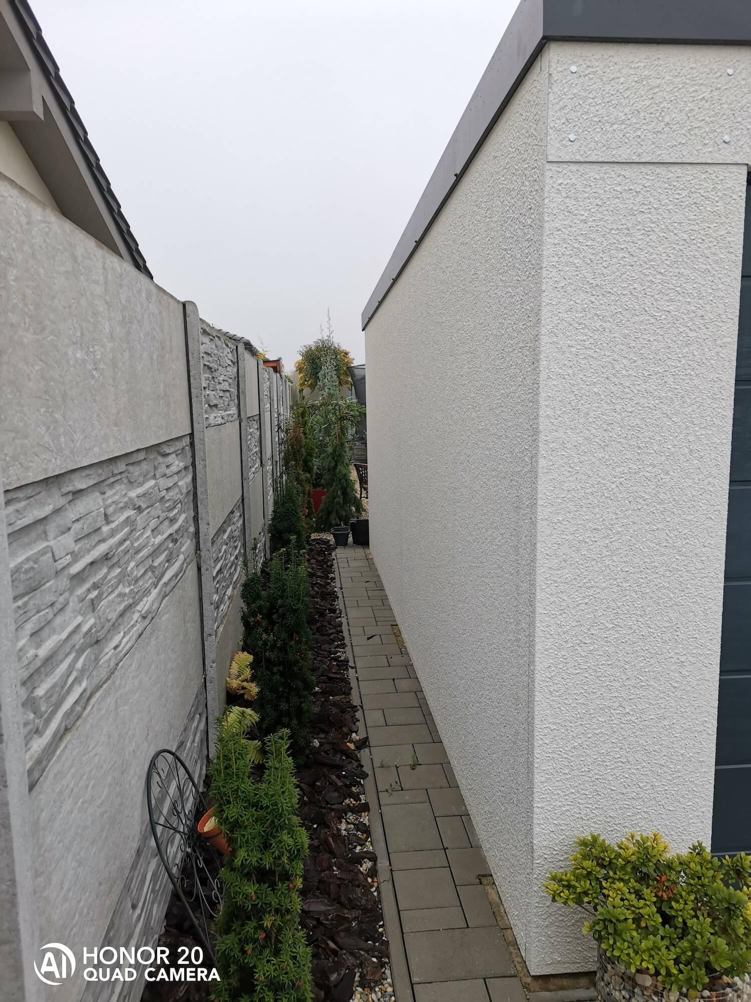 Rastlinky medzi garážou a plotom