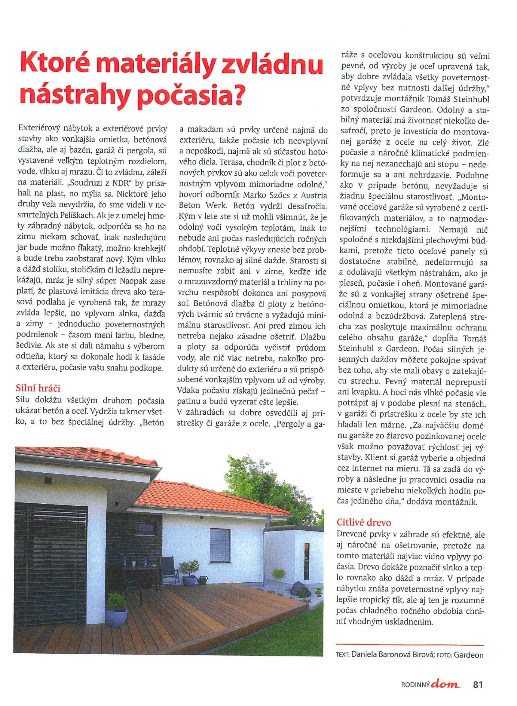 Článok v časopise Rodinný dom