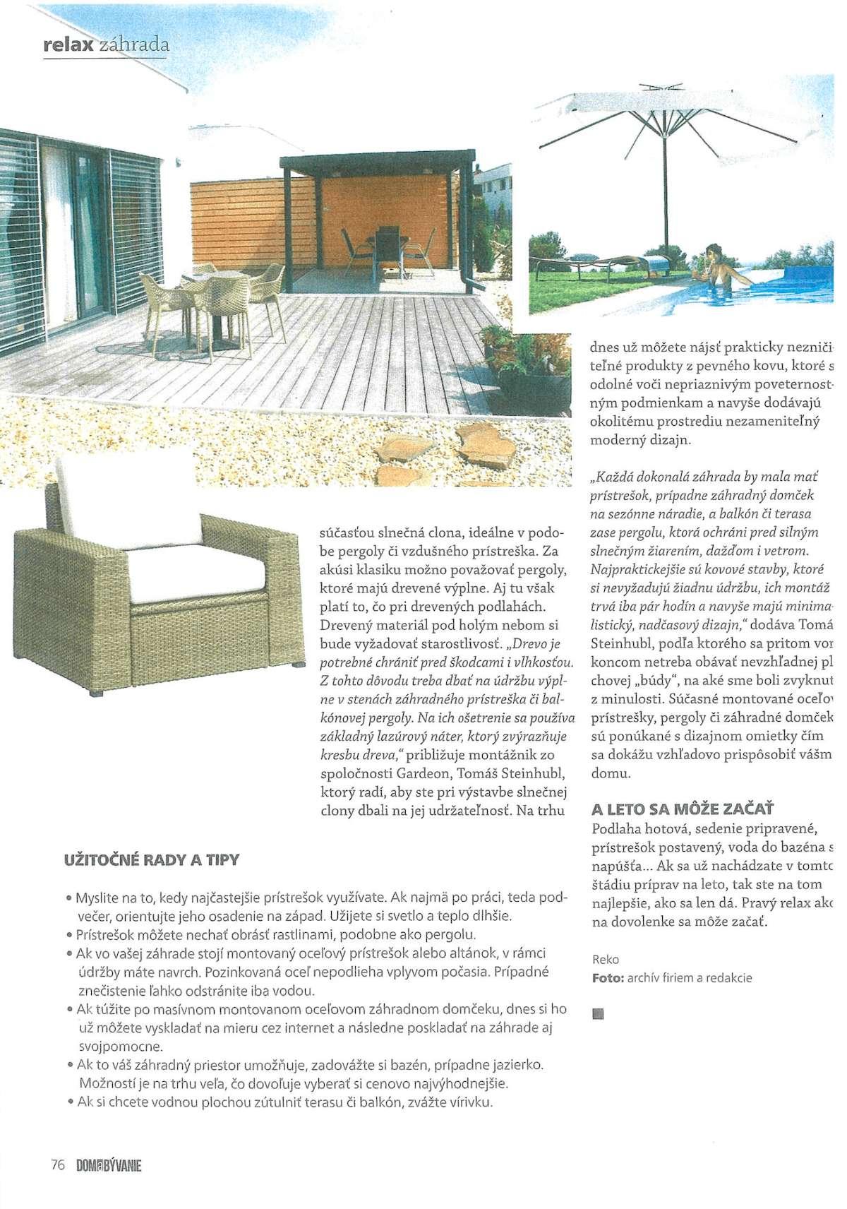 Článok v časopise Dom a Bývanie