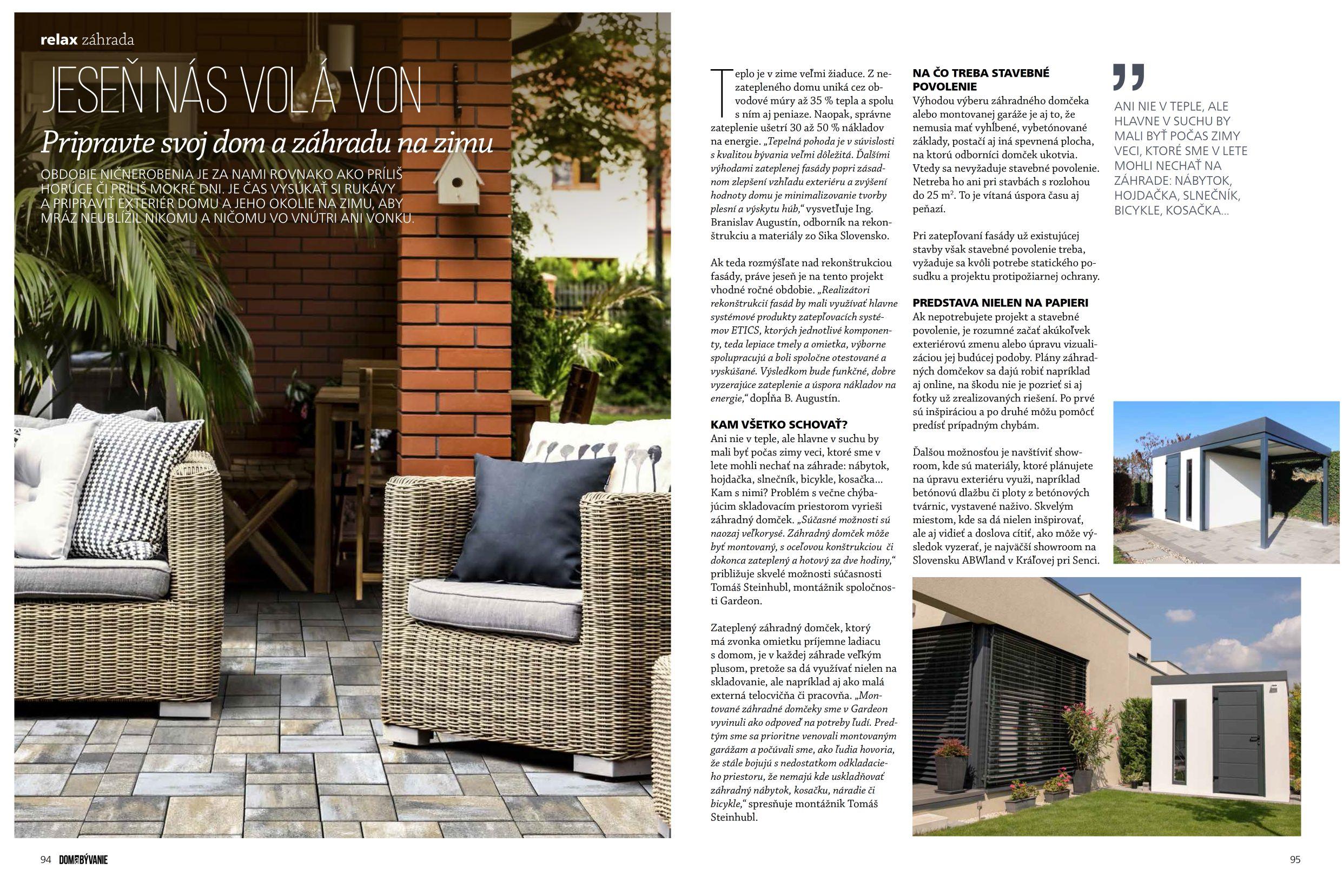 Článok o GARDEONe v časopise Dom a Bývanie
