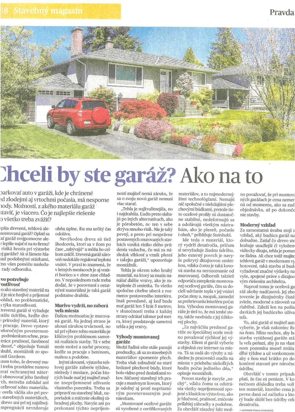 Článok v novinách Pravda