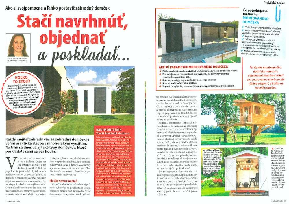 Článok v časopise Rytmus života Naša záhrada