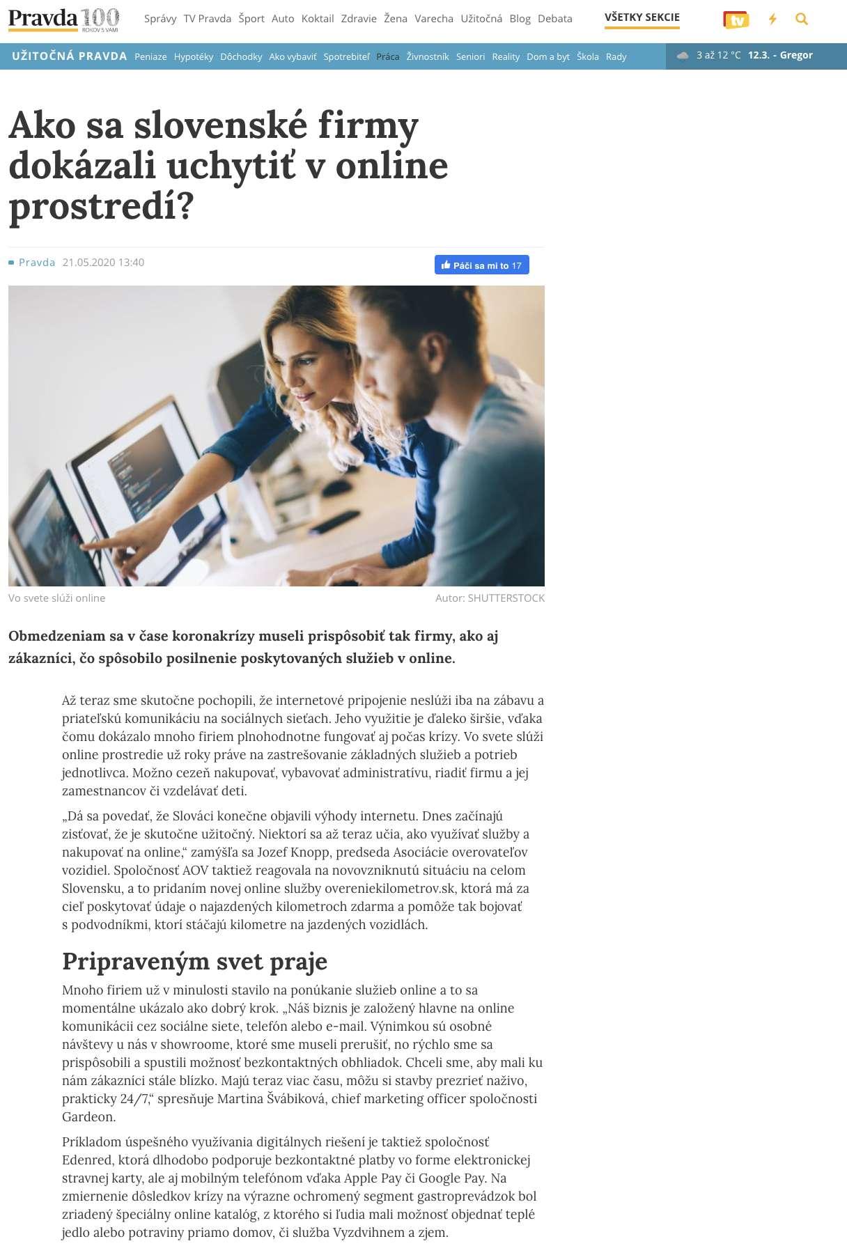 Článok na stránke pravda.sk