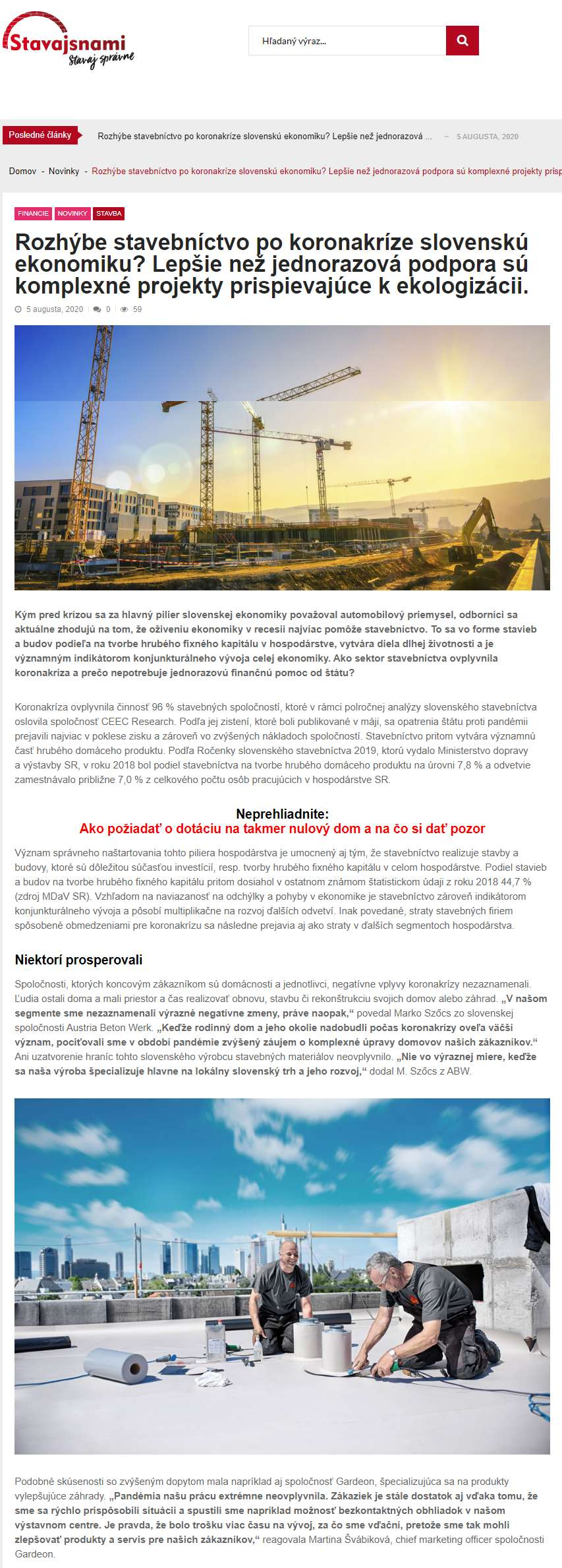 Článok na stavajsnami.sk