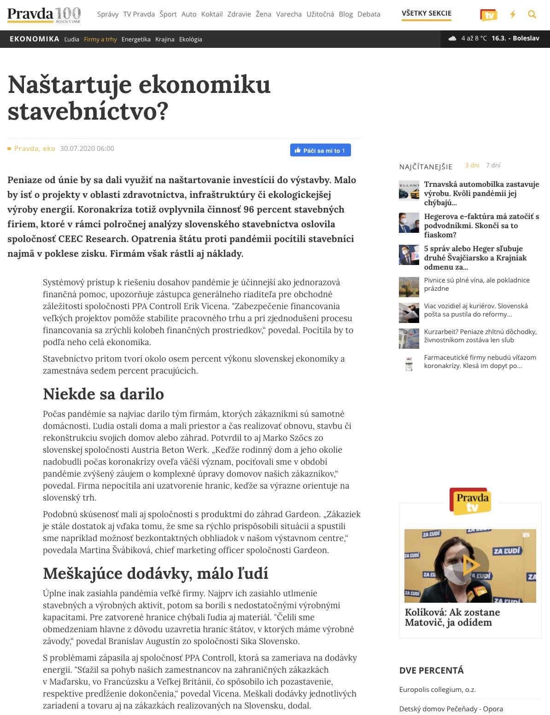 Článok o GARDEONe na pravda.sk