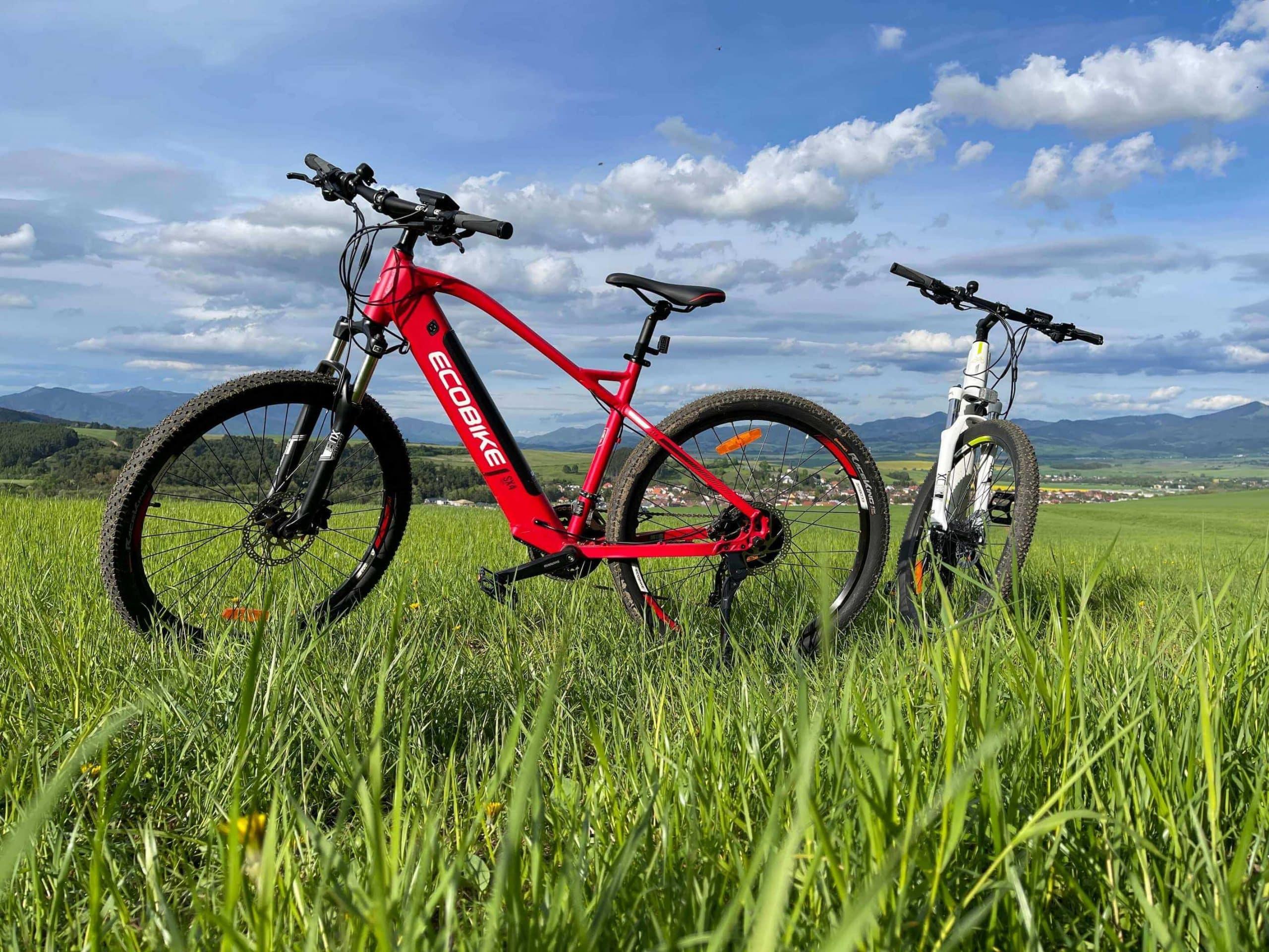 Červený a biely bicykel na lúke