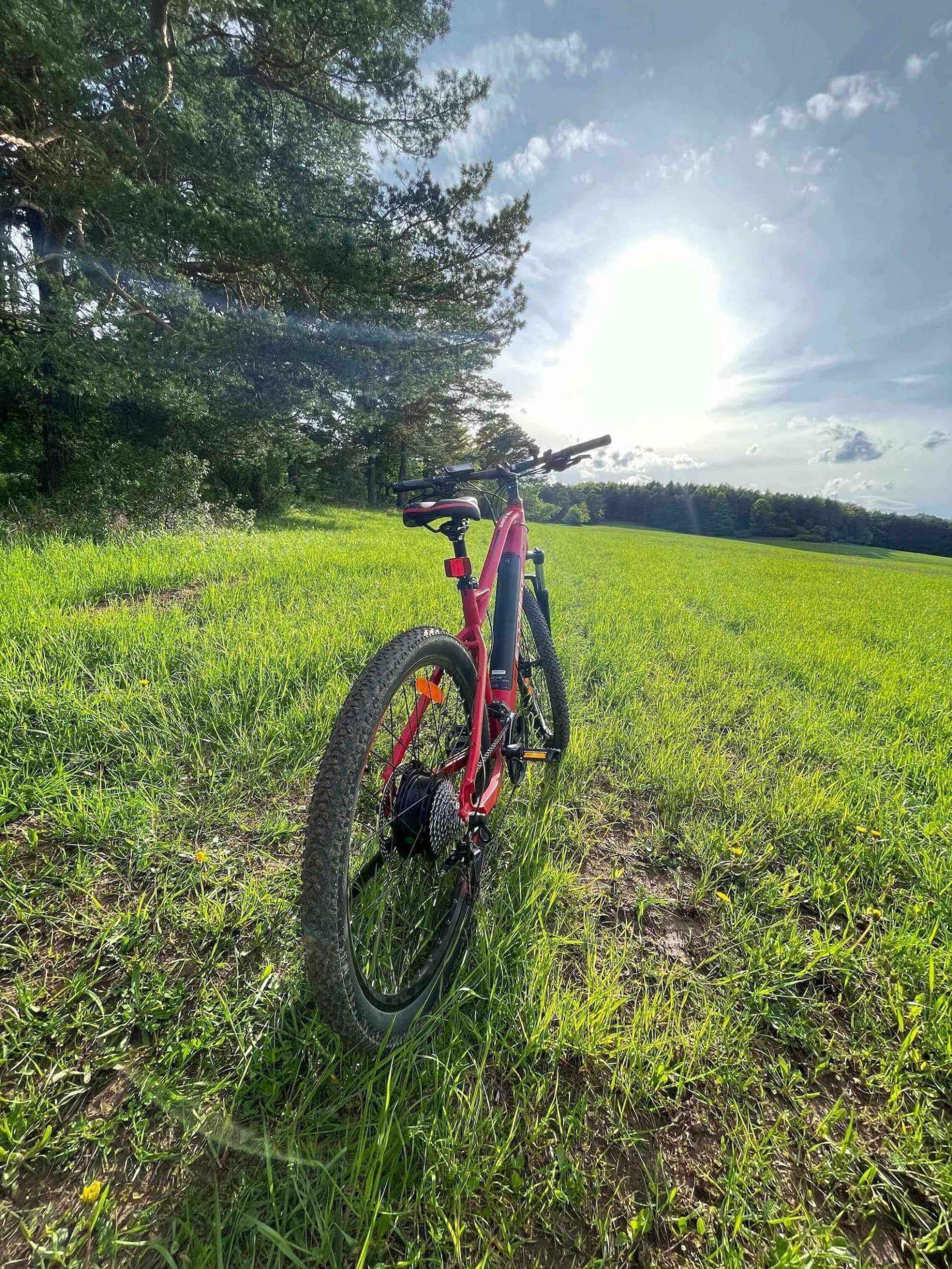 Červený bicykel na lúke