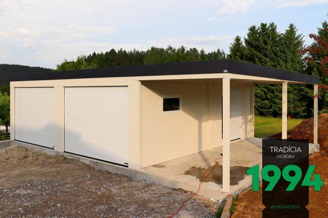 Dvojgaráž s dvomi garážovými bránami a prístreškom
