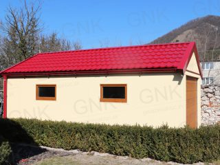 Montovaná garáž pre jedno auto s červenou strechou