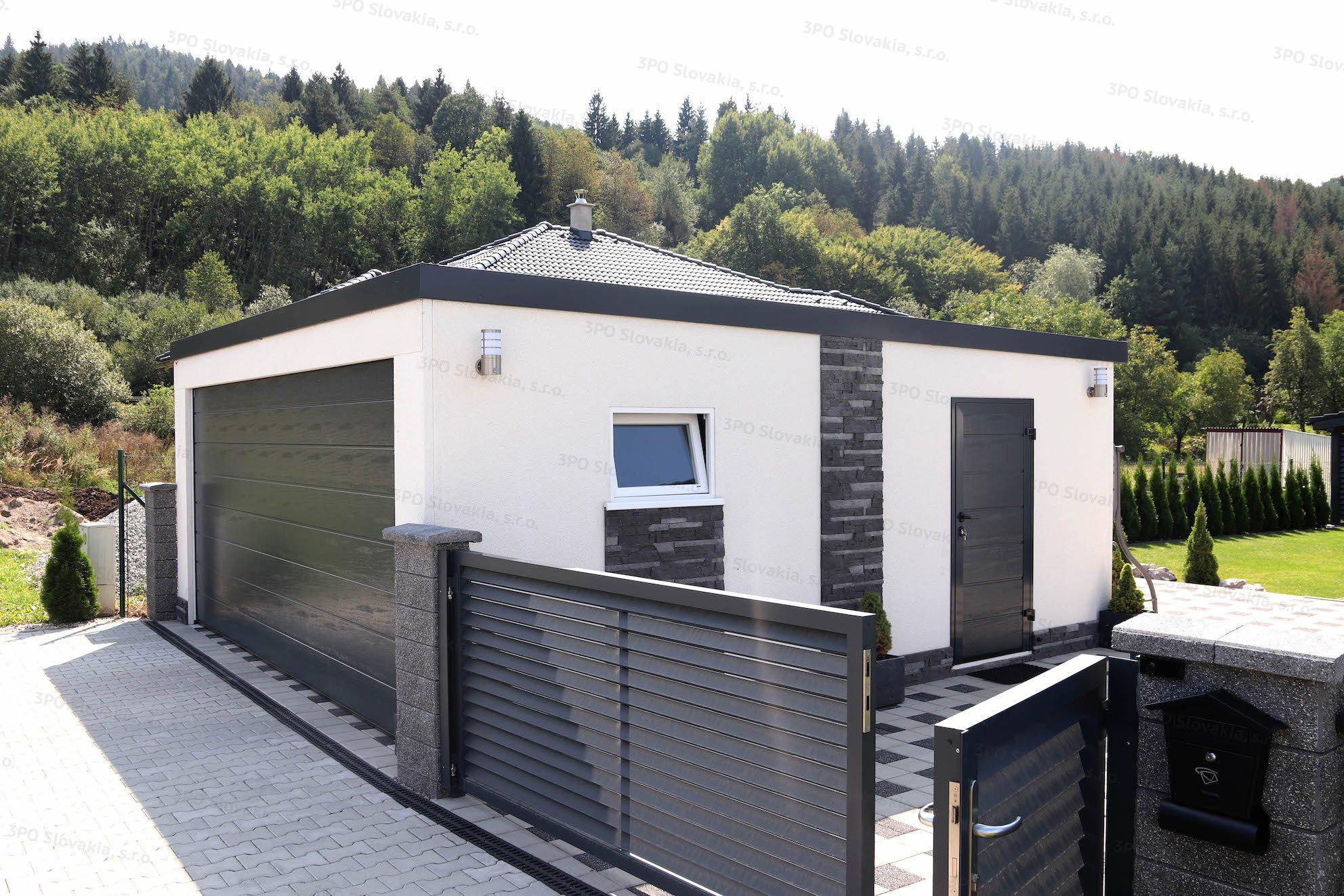 Moderná garáž pre dve autá s kamenným obkladom