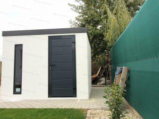 Montovaný záhradný domček s rovnou strechou v antracitovej farbe