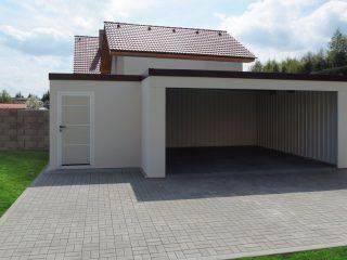 Atypická montovaná garáž so záhradným domčekom