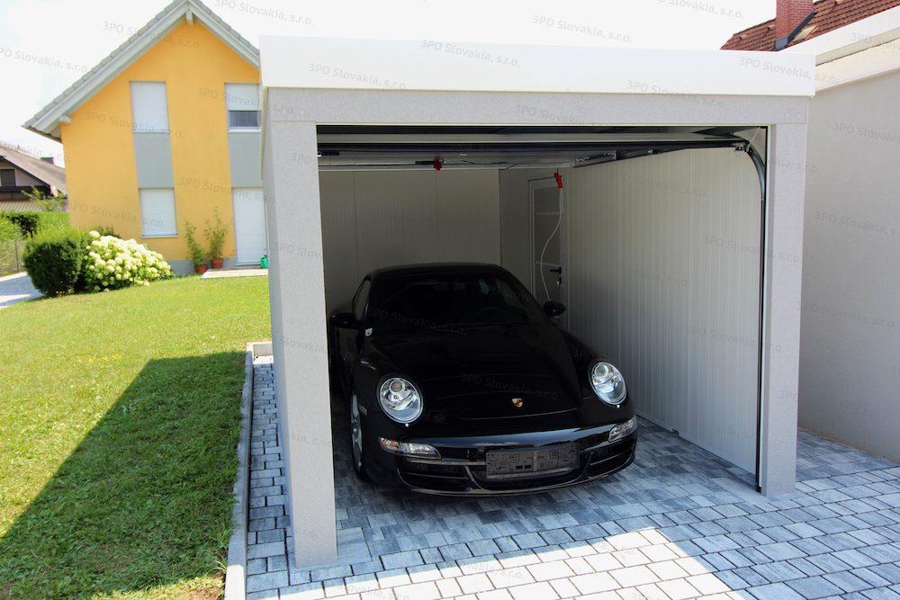 Porsche vo vnútri montovanej garáže GARDEON