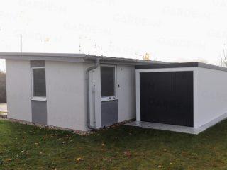 Montovaná garáž GARDEON pri rodinnom dome