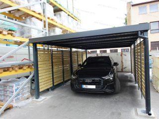 Zaparkované Audi v montovanom prístrešku GARDEON v antracitovej farbe