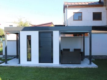 Montovaný záhradný domček s dvoma prístreškami