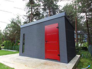 Montovaný záhradný domček v tmavo-sivej omietke s červenými dverami Hormann
