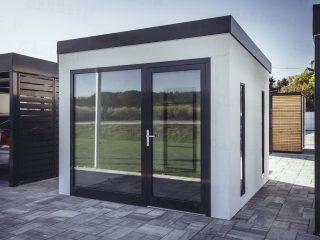 Dizajnový záhradný domček GARDEON v bielej omietke