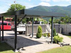 Montovaný prístrešok SIEBAU pre jedno auto v záhrade