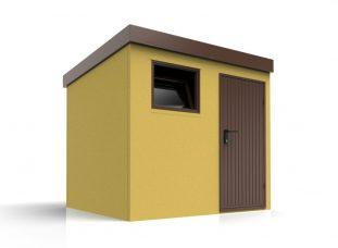 Montovaný záhradný domček s hnedým príslušenstvom